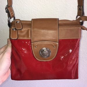 Handbags - Red faux patent leather crossbody purse